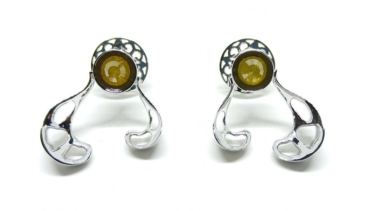Rose Cut Want Facelift? Amaze Yourself with Contemporary Yellow Diamond Gold Earrings For Sale