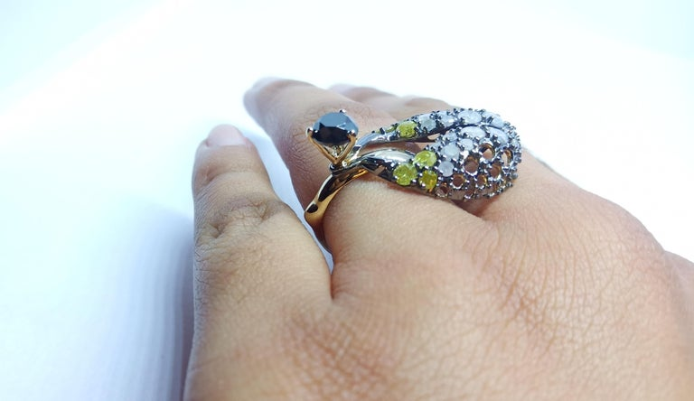 Want Facelift? Amaze Yourself with One of a Kind Color Diamond Gold Fashion Ring For Sale 6