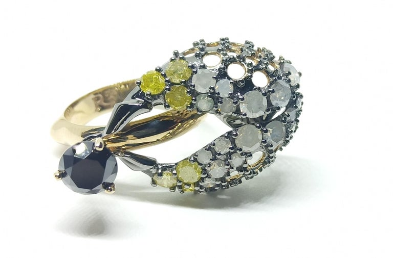 Want Facelift? Amaze Yourself with One of a Kind Color Diamond Gold Fashion Ring For Sale 1