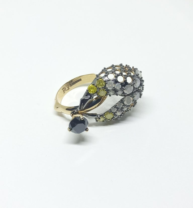 Want Facelift? Amaze Yourself with One of a Kind Color Diamond Gold Fashion Ring For Sale 2