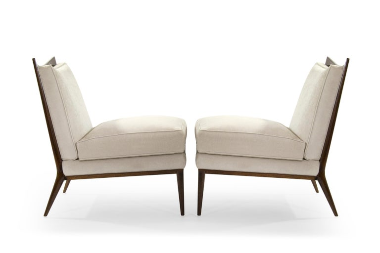 Mid-Century Modern Wanut Frame Slipper Chairs by Paul McCobb for Directional For Sale