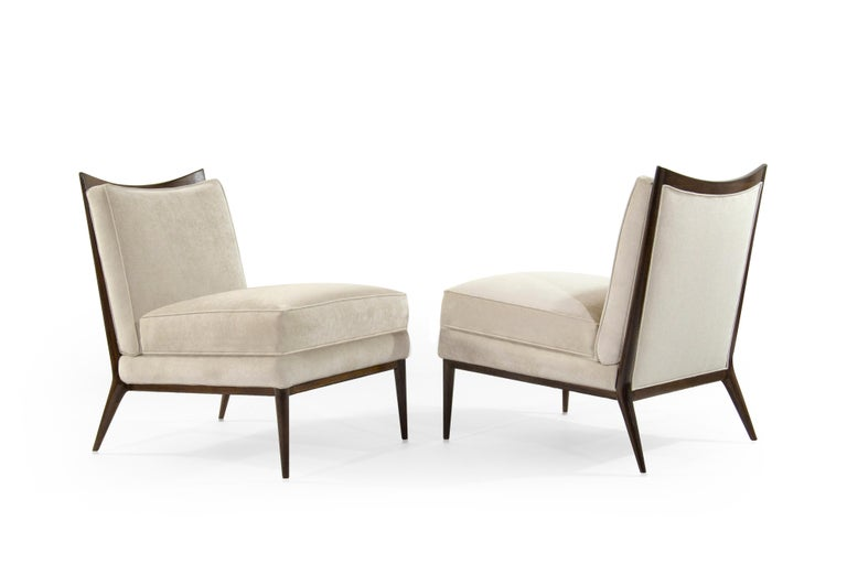 Wanut Frame Slipper Chairs by Paul McCobb for Directional In Excellent Condition For Sale In Stamford, CT