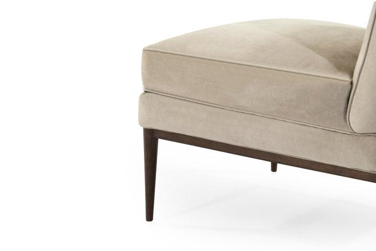 Velvet Wanut Frame Slipper Chairs by Paul McCobb for Directional For Sale