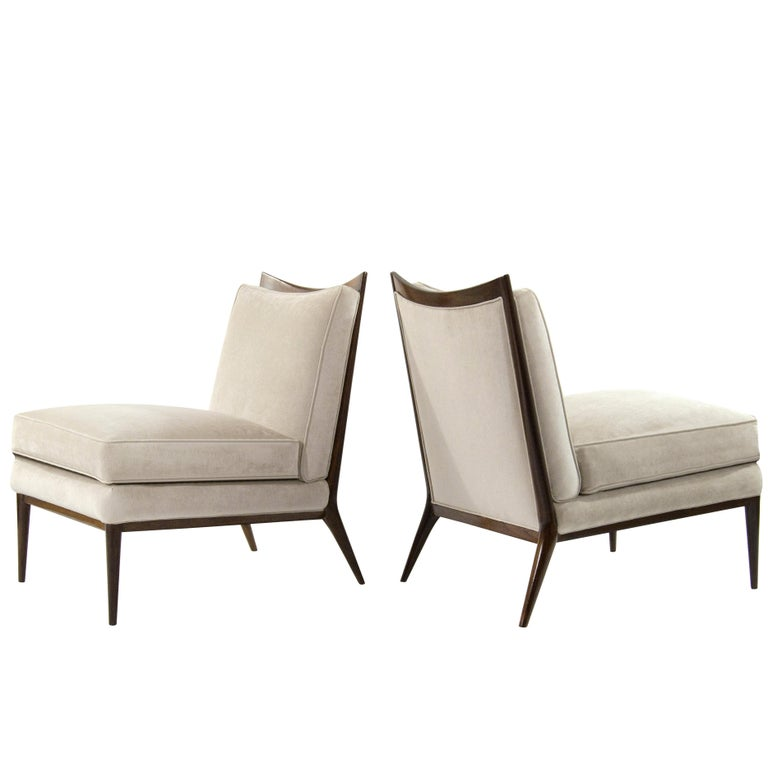 Wanut Frame Slipper Chairs by Paul McCobb for Directional For Sale