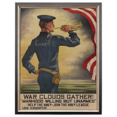 "U.S. Navy League, ""War Clouds Gather!"" by Hazel Roberts, Vintage Poster, 1916"