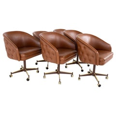Ward Bennet Style Mid Century Brass Tufted Swivel Club Chairs, Set of 6