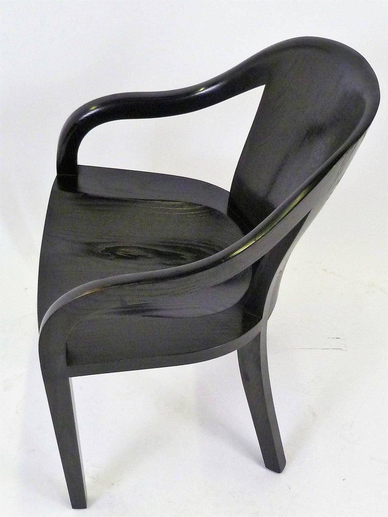 Ward Bennett 1550 University Black Ash Armchair for Brickel Associates In Good Condition For Sale In Miami, FL