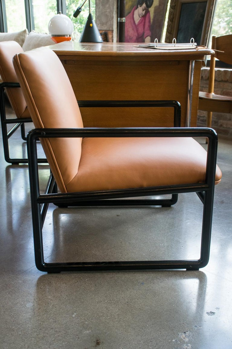 Mid-Century Modern Ward Bennett Armchairs in Leather, 1960s For Sale