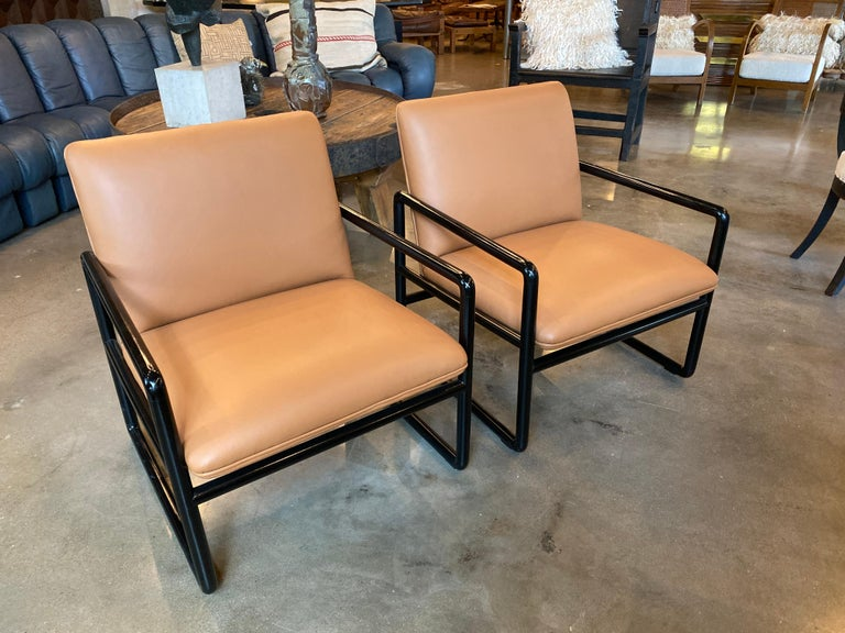 Ward Bennett Armchairs in Leather, 1960s In Good Condition For Sale In Austin, TX
