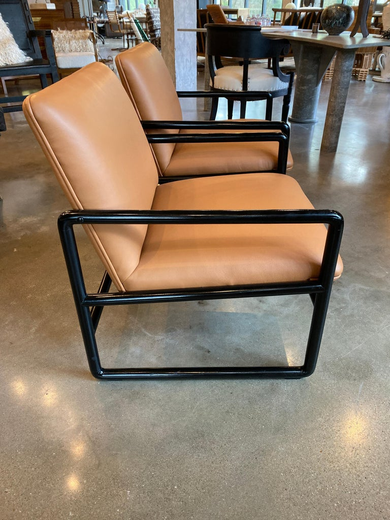 Mid-20th Century Ward Bennett Armchairs in Leather, 1960s For Sale