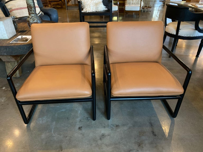 Ward Bennett Armchairs in Leather, 1960s For Sale 1