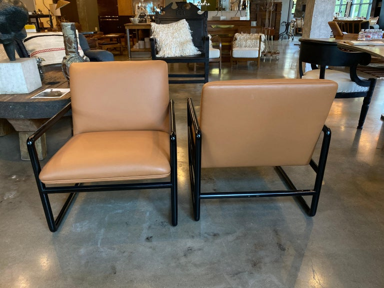Ward Bennett Armchairs in Leather, 1960s For Sale 3