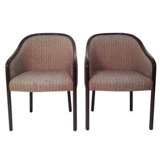 Pr of Ward Bennett Brown Lacquered Fame w/ Herringbone Wool Upholstery Armchairs