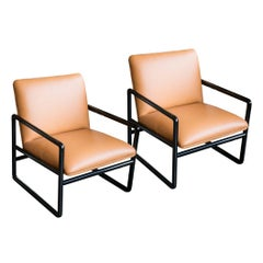 Ward Bennett Armchairs in Leather, 1960s