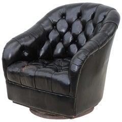 Ward Bennett Black Leather Swivel Club Chair