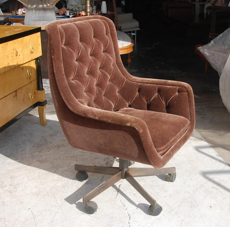 Mid-Century Modern Ward Bennett Brickel Executive Desk Chair Bronze Base For Sale