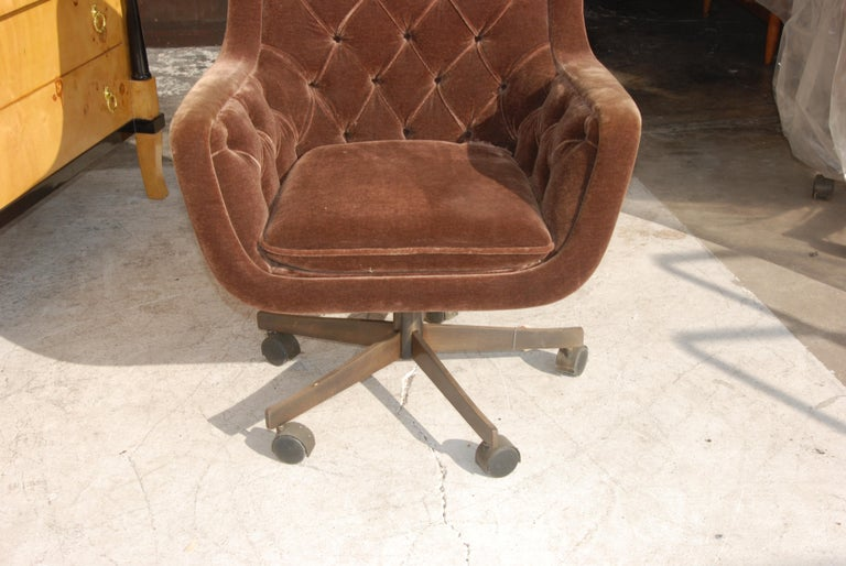 20th Century Ward Bennett Brickel Executive Desk Chair Bronze Base For Sale