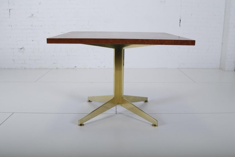 American Ward Bennett Burl and Brass Dining Table for Brickell Assoc, 1978