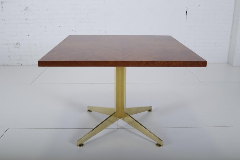 Ward Bennett Burl and Brass Dining Table for Brickell Assoc, 1978 In Excellent Condition In Chicago, IL
