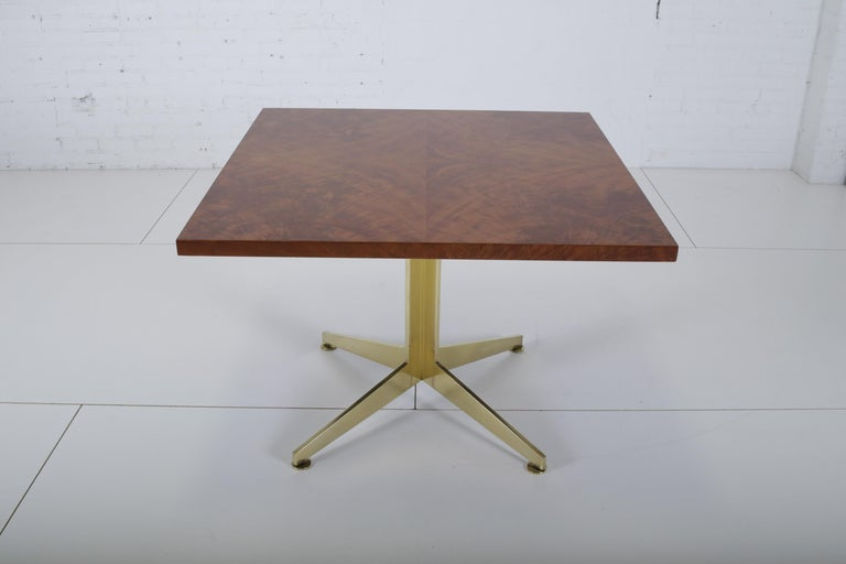 Late 20th Century Ward Bennett Burl and Brass Dining Table for Brickell Assoc, 1978