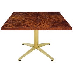 Ward Bennett Burl and Brass Dining Table for Brickell Assoc, 1978