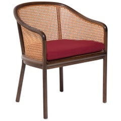 Ward Bennett Cane Landmark Lounge Chair with Red Cushion