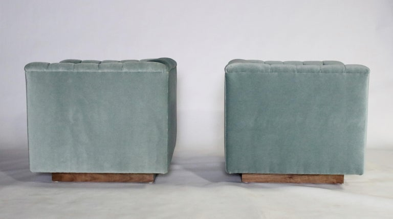 Mohair Ward Bennett Cube Club Chairs For Sale