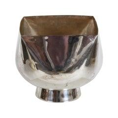 Ward Bennett Designed, Mid-Century Modern Large Bulbous Form Silver Plate Bowl