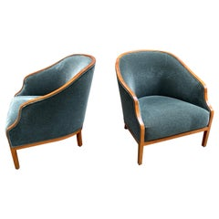 Ward Bennett for Brickel Associates Pair of Lounge Chairs in Cherry and Mohair