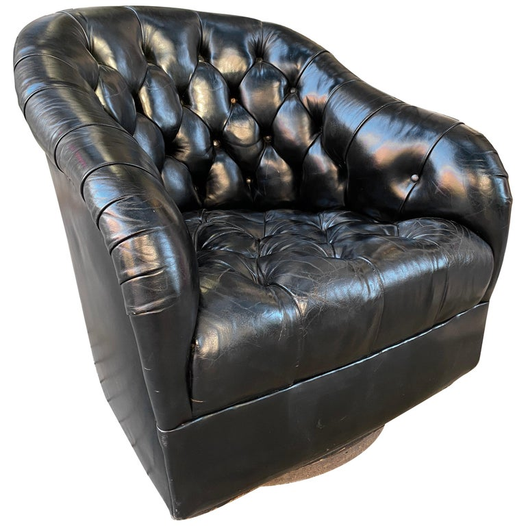 Ward Bennett for Brickel Tufted Black Leather Swivel Lounge Chair For Sale