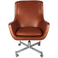 Ward Bennett High Back Executive Chair in Edelman Leather