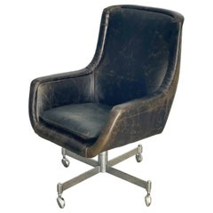 Ward Bennett High Back Executive Desk Chair in Aniline Leather, for Brickel 1978