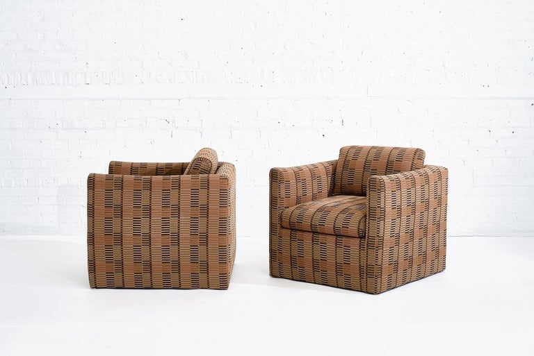 Manhattan lounge chairs by John Saladino for Dunbar. circa 1980. Upholstered in Bauhaus fabric.