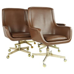 Ward Bennett MCM Executive Highback Brass and Leather Office Chairs, Set 4
