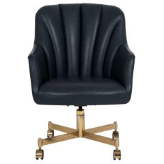 Ward Bennett Navy Leather Office Chair