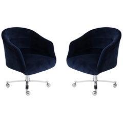 Ward Bennett Navy Swivel Chairs