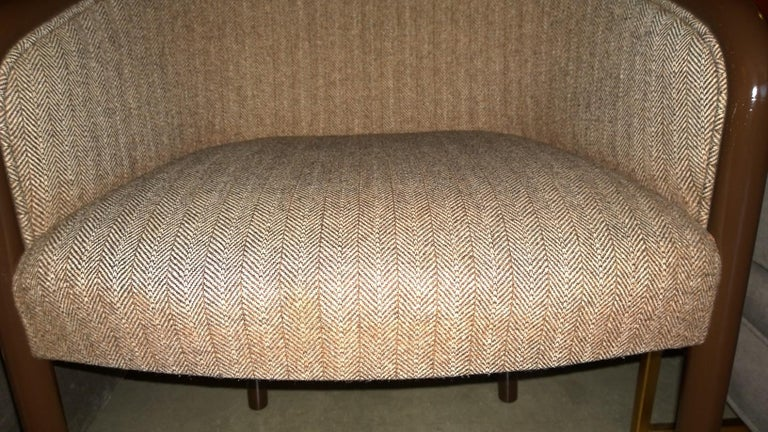 Pr of Ward Bennett Brown Lacquered Fame w/ Herringbone Wool Upholstery Armchairs For Sale 7