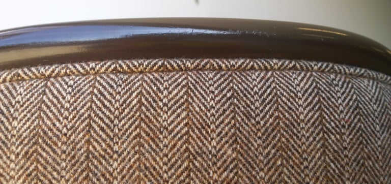 Pr of Ward Bennett Brown Lacquered Fame w/ Herringbone Wool Upholstery Armchairs For Sale 4
