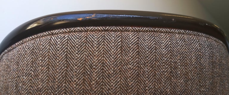 Pr of Ward Bennett Brown Lacquered Fame w/ Herringbone Wool Upholstery Armchairs For Sale 5