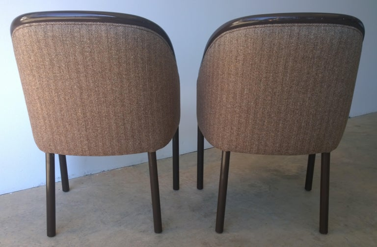 American Pr of Ward Bennett Brown Lacquered Fame w/ Herringbone Wool Upholstery Armchairs For Sale