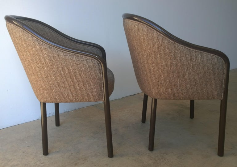 Pr of Ward Bennett Brown Lacquered Fame w/ Herringbone Wool Upholstery Armchairs In Good Condition For Sale In Houston, TX