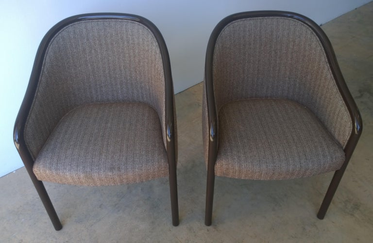 Wood Pr of Ward Bennett Brown Lacquered Fame w/ Herringbone Wool Upholstery Armchairs For Sale