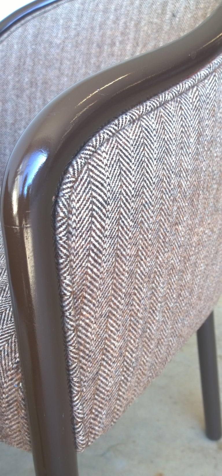 Pr of Ward Bennett Brown Lacquered Fame w/ Herringbone Wool Upholstery Armchairs For Sale 2