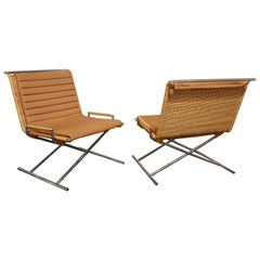 "Ward Bennett Pair of Beautiful ""Sled Chairs"" 1970s 'Signed'"
