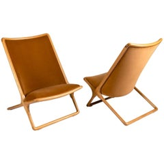 Ward Bennett, Pair of Scissor Lounge Chairs, United States, 1968