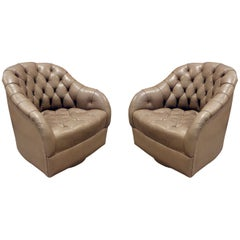 Ward Bennett Pair of Swiveling Tufted Leather Club Chairs, 1960s