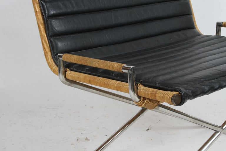 Ward Bennett Sled Chair Rattan and Leather For Sale 3