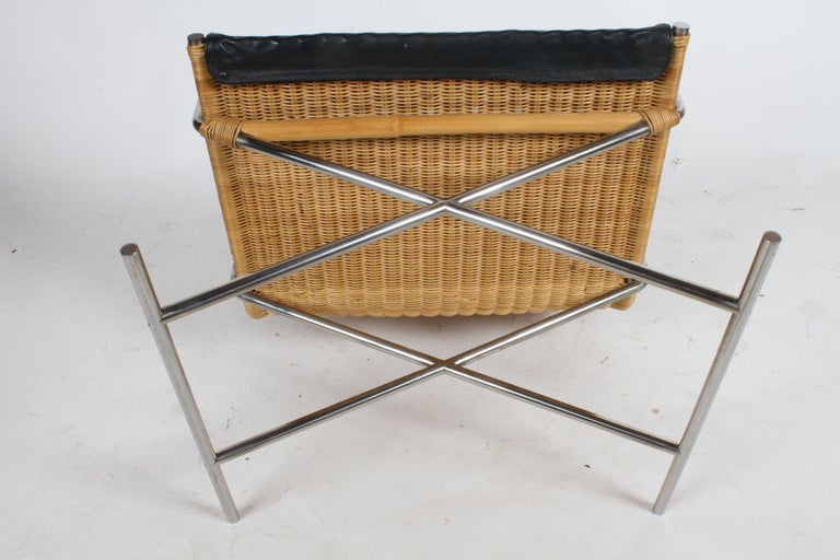 Ward Bennett Sled Chair Rattan and Leather For Sale 4