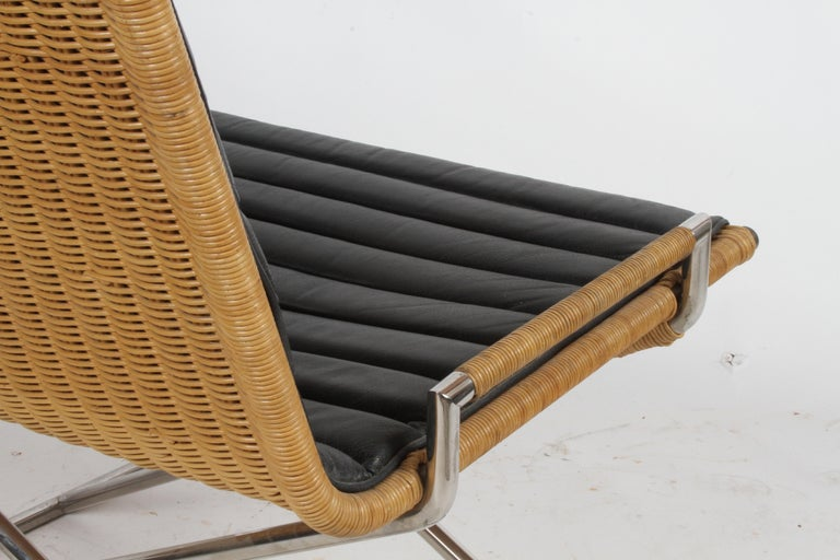 Ward Bennett Sled Chair Rattan and Leather For Sale 5