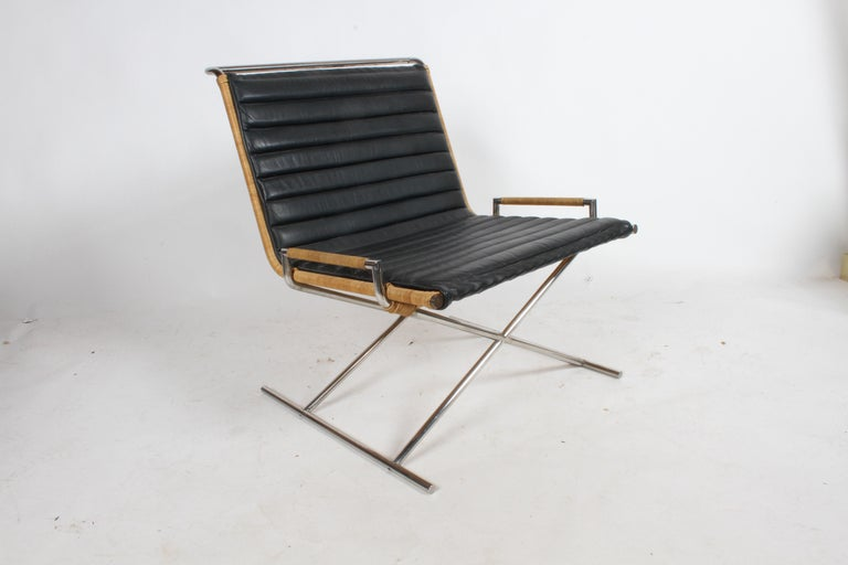 Ward Bennett Sled Chair Rattan and Leather For Sale 6